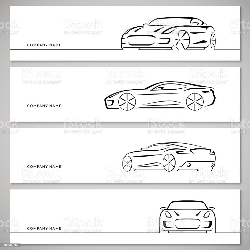 set of sports car vector silhouettes outlines contours stock