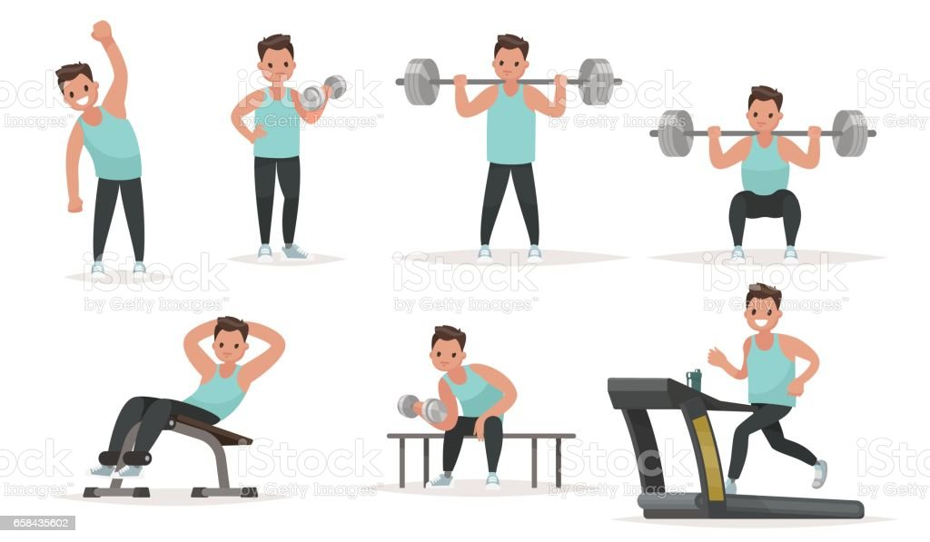 Set of sports character. The man in the gym is warming up and doing exercises on the simulators vector art illustration