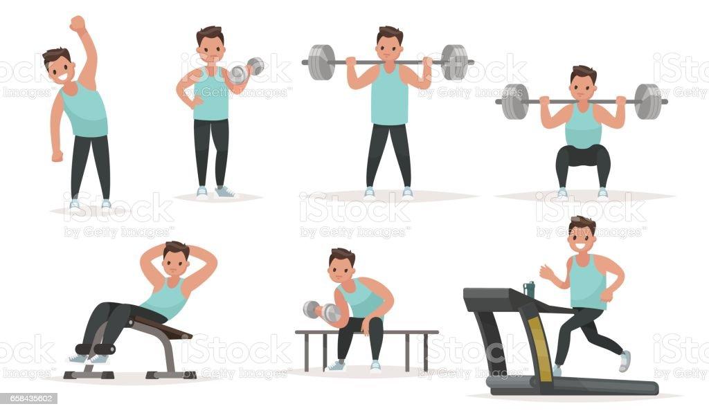 Juego de carácter deportivo. El hombre en el gimnasio es calentar y hacer ejercicios en los simuladores - ilustración de arte vectorial