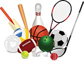 Set Of Sports Equipment is seaprate layered and easy to edit