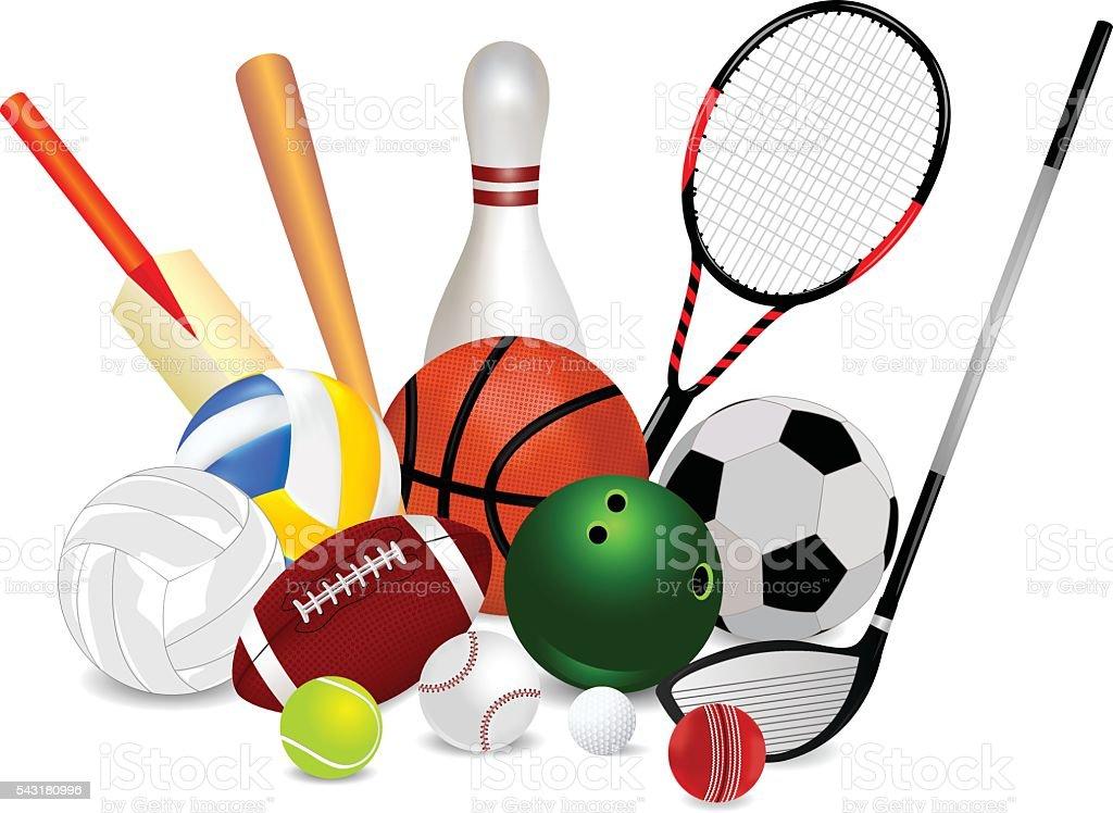 Set Of Sports Equipment vector art illustration