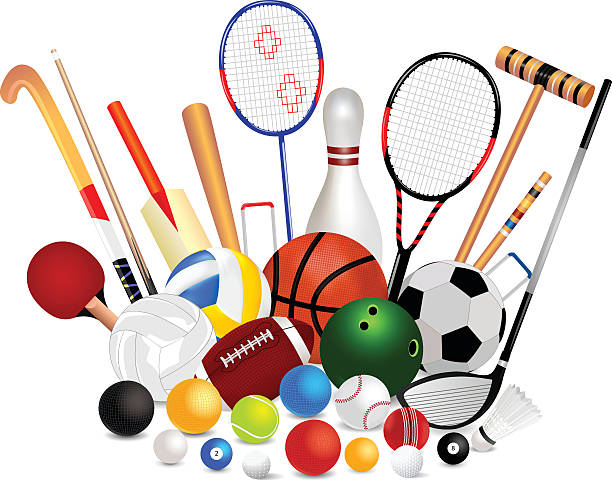 set of sports equipment - sports equipment stock illustrations, clip art, cartoons, & icons