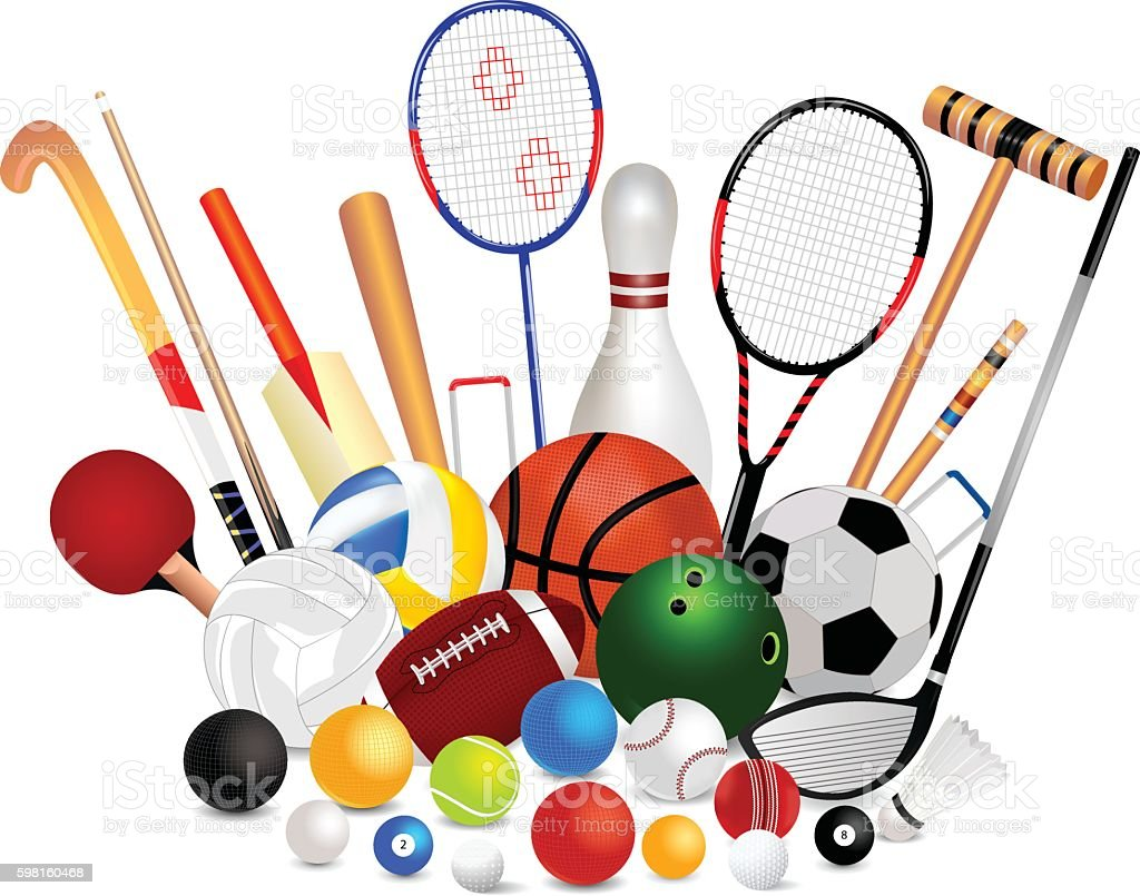 set of sports equipment stock vector art more images of american rh istockphoto com sports equipment images clip art sports equipment clip art free