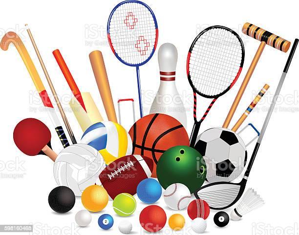 Zestaw Sprzęt Sportowy - Stockowe grafiki wektorowe i więcej obrazów  Badminton - sport - iStock