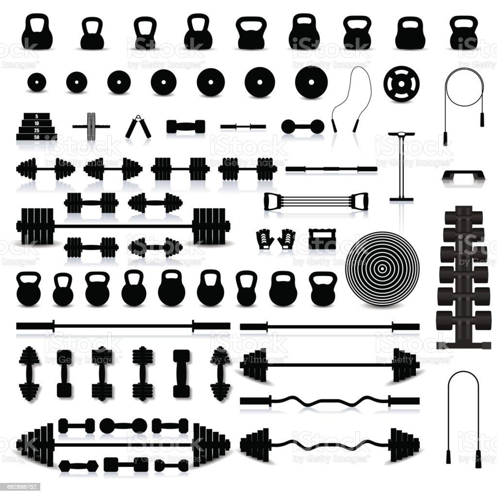 Set of sports equipment, vector illustration.