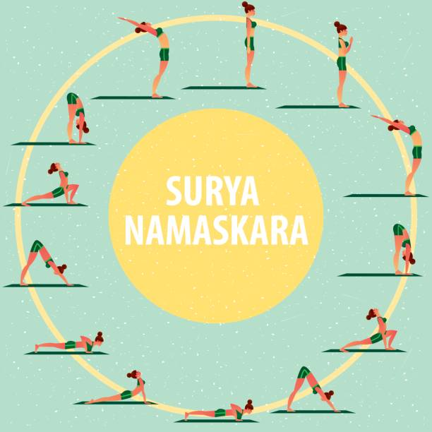 Set of sports girls in different yoga poses Set of images of sports girl in different yoga poses, performing complex of exercises, known as Greeting to the Sun or Surya Namaskara. Flat style sun salutation stock illustrations