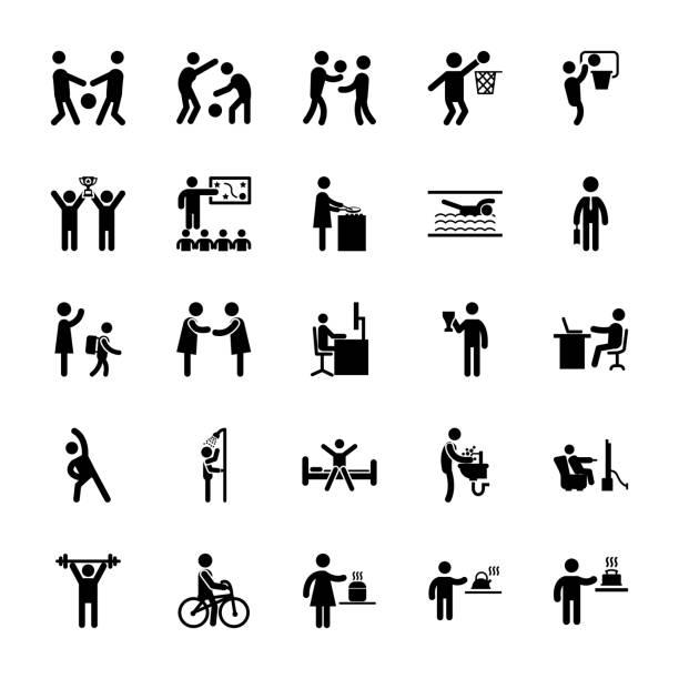 illustrazioni stock, clip art, cartoni animati e icone di tendenza di set of sports pictograms - buongiorno