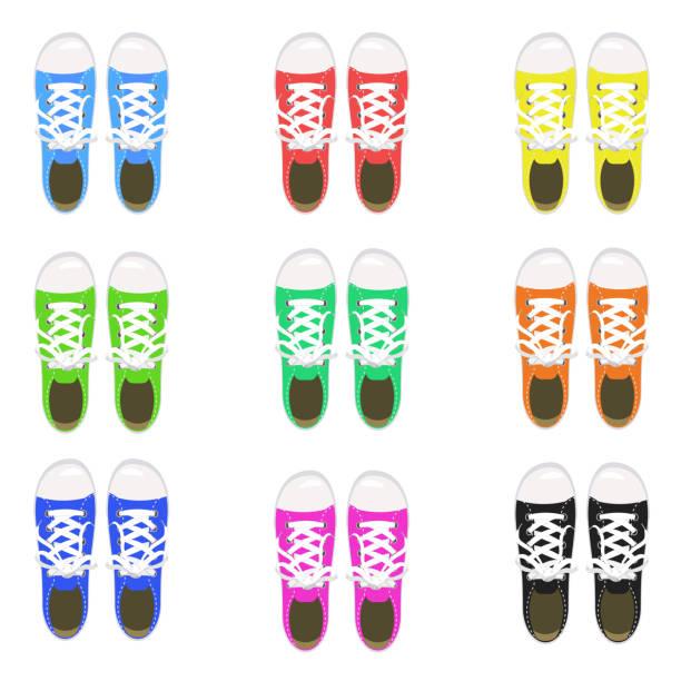 eine reihe von sportschuhe, turnschuhe, keds, verschiedene farben, für sport und im alltag, mode, vektor, abbildung, isoliert - keds stock-grafiken, -clipart, -cartoons und -symbole