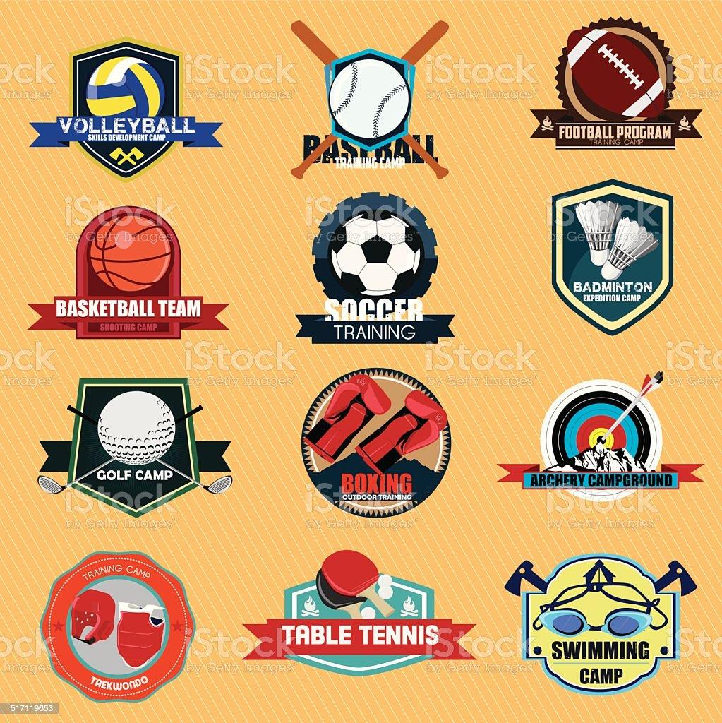 Set of Sports Training Camp Abzeichen Etikett im vintage-Look.  Vektor Illustra – Vektorgrafik