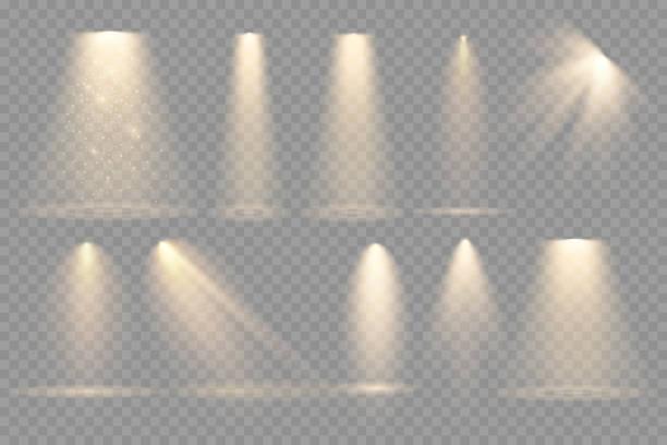 illustrazioni stock, clip art, cartoni animati e icone di tendenza di set of spotlights isolated on transparent background. - sovraesposizione effetti fotografici