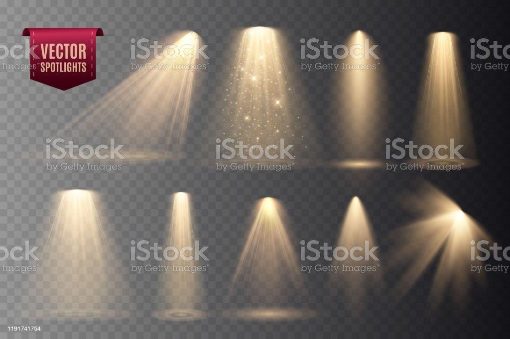 Set of Spotlights isolated on transparent background. - Grafika wektorowa royalty-free (Abstrakcja)