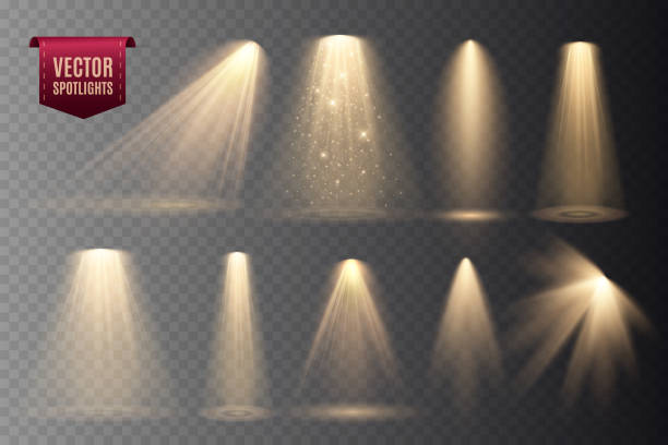 Set of Spotlights isolated on transparent background. Set of Spotlights isolated on transparent background. Vector glowing light effect with gold rays and beams spot lit stock illustrations