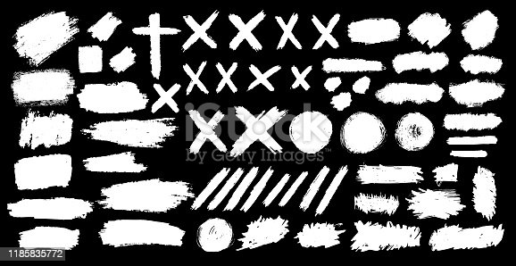 set of spots, lines, crosses, circles, banners and hand-painted lines.  Irregular drawing strokes. Vector brush stroke background. Texture and grunge style. Stain illustration. Isolated.
