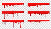 広がる血液のセット。赤い液体のドロップとスプラッシュ。点滴と流れをペイントします。透明な背景に血。医学、ヘルスケア、チラシ、バナーやインターネット上で使用することができま�