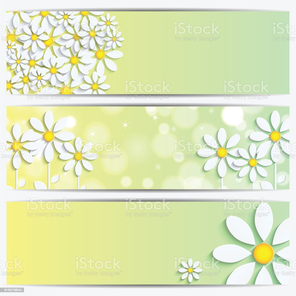Set of spring and summer banners with white flowers vector art illustration
