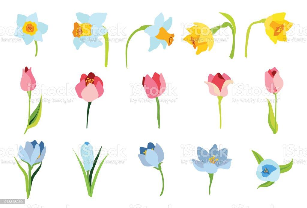 4 月のイースターの花春のセット イラストレーションのベクターアート