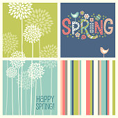 Set of Spring designs including seamless stripes, doodle lettering, tall allium flowers. Cheerful coordinating elements for banners, cards, backgrounds and decor.