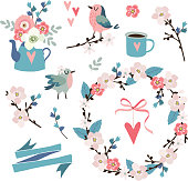 Set of spring, Easter or wedding icons, clip-arts. Flowers, cherry blossoms, birds , floral wreath, hearts and pink ribbon, isolated vector objects.