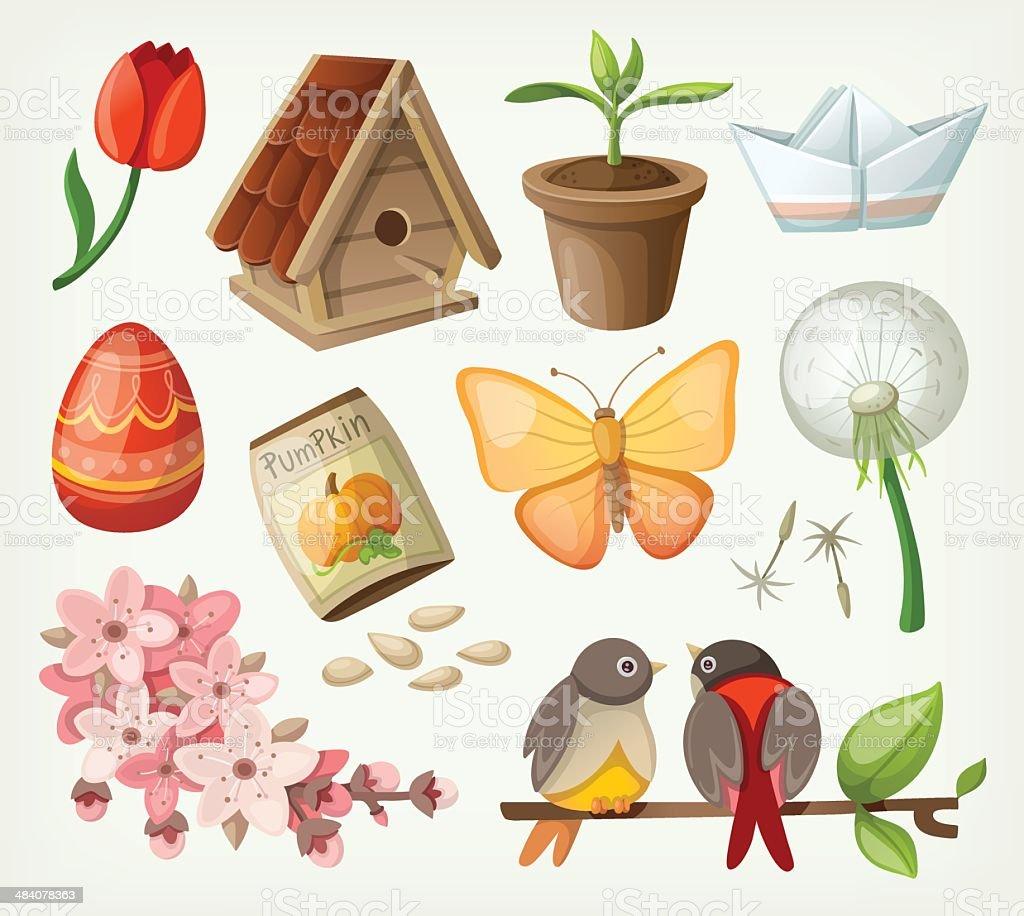 Set of spring items vector art illustration