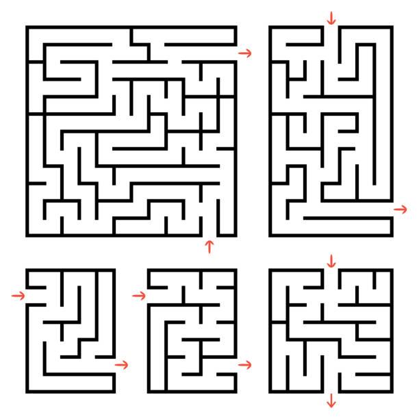 입구와 출구가있는 사각형 과 직사각형 미로 세트. 흰색 배경에 격리 된 간단한 평면 벡터 그림입니다. - 미로찾기 stock illustrations