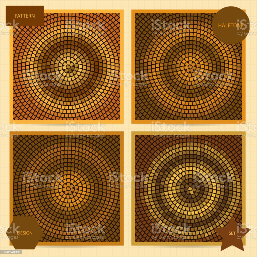 Set Of Square Cards With Halftone Mosaic Patterns In Brown Color ...