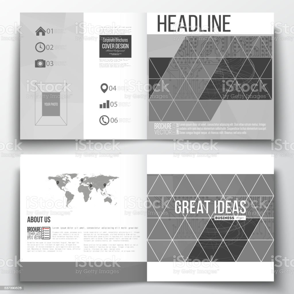 Set Of Square Design Brochure Template Microchip Background ...