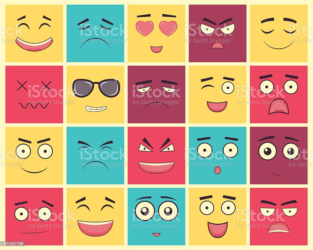 Set Of Square Emoticons Emoticon For Web Site Chat Sms Stock Vector