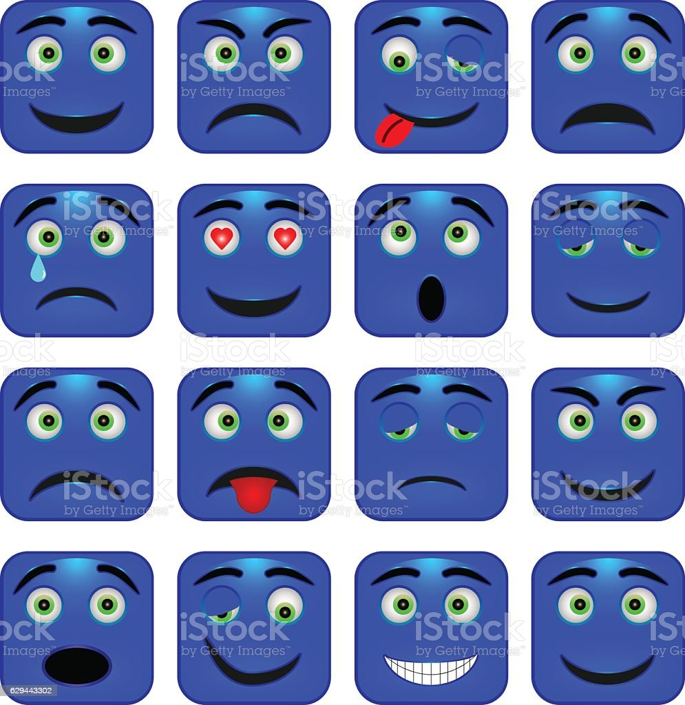Set of square emoticons. Isolated vector illustration vector art illustration