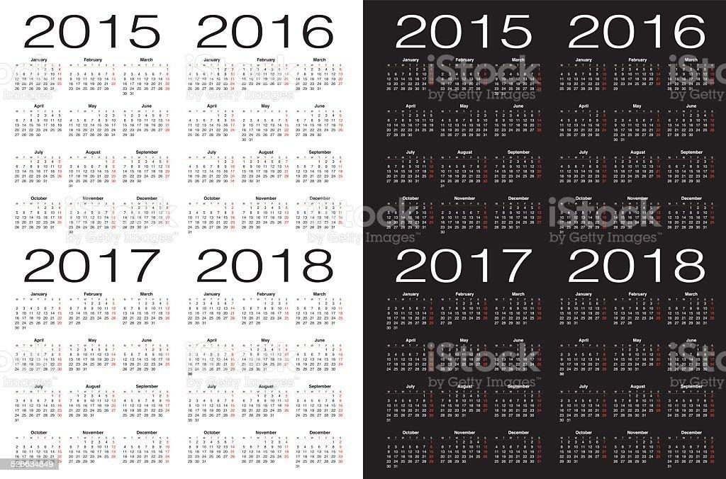 Set of square European 2015, 2016, 2017. 2018 year calendars. vector art illustration