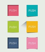 Set of square flat  buttons, elements. Vector illustration.