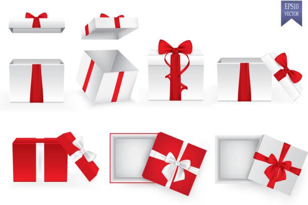 ilustrações de stock, clip art, desenhos animados e ícones de set of square gift boxes with satin ribbons and bows - gift box