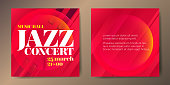Set of two square jazz red card templates with graphic elements and text.