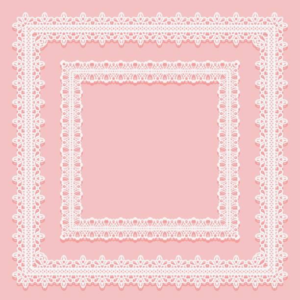 Set of square lace frames. White on pink background. Set of square lace frames. White on pink background. Vector illustration decorative laser cut set stock illustrations