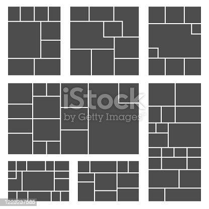 Set of square or rectangle photo collage templates. Photos grid picture composition for your frame photography design. Vector illustration.