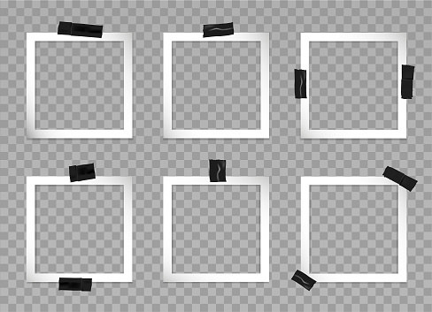 Set of square photo frames with black adhesive tape. Vector 3d realistic. Mockup for modern design. Blank template on a transparent background. 6 empty gray photo cards with different sticky tape.