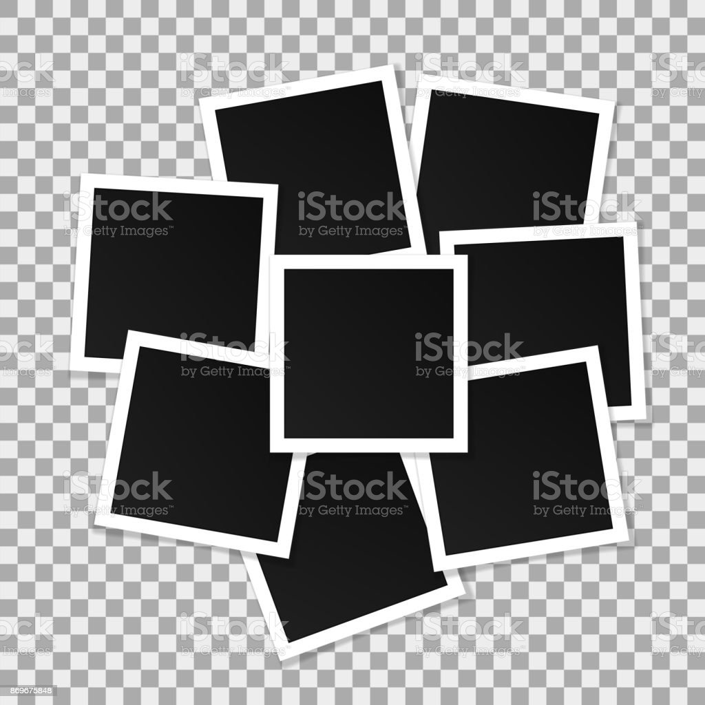 Set of square vector photo frames. Collage of realistic frames isolated on transparent background. Template design. Vector illustration vector art illustration