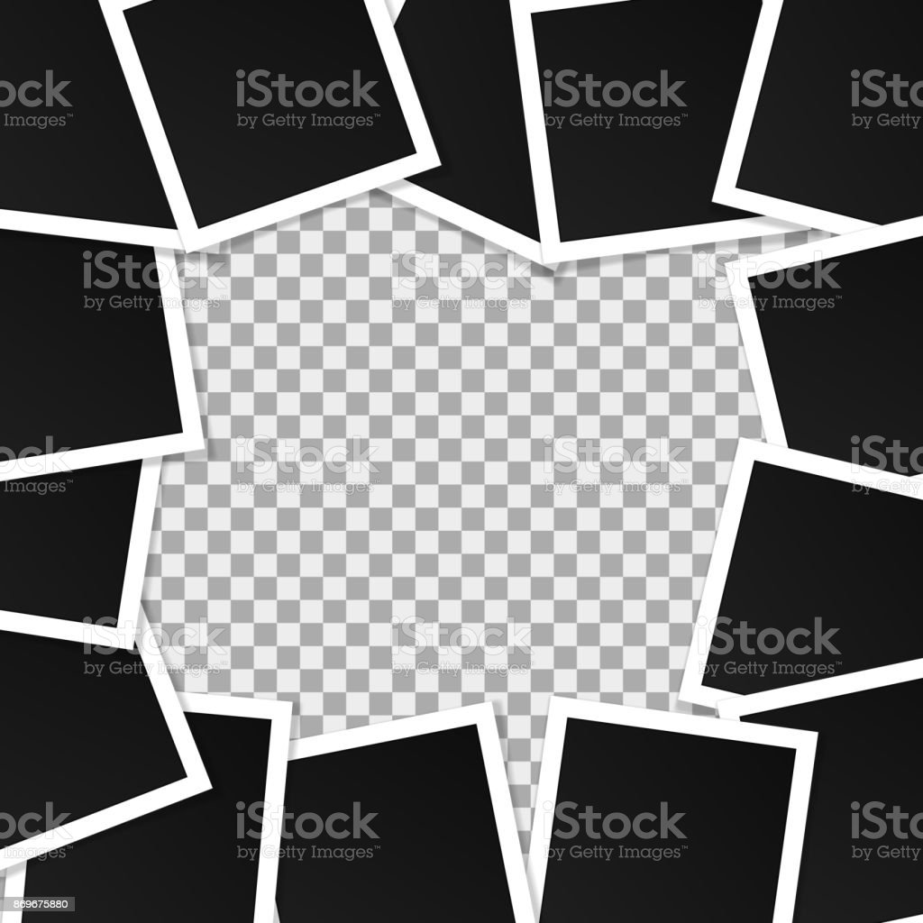 set of square vector photo frames collage of realistic
