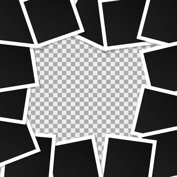 satz von quadratischen vektor bilderrahmen. collage von realistischen rahmen isoliert auf transparentem hintergrund. template-design. vektor-illustration - palettenbilderrahmen stock-grafiken, -clipart, -cartoons und -symbole