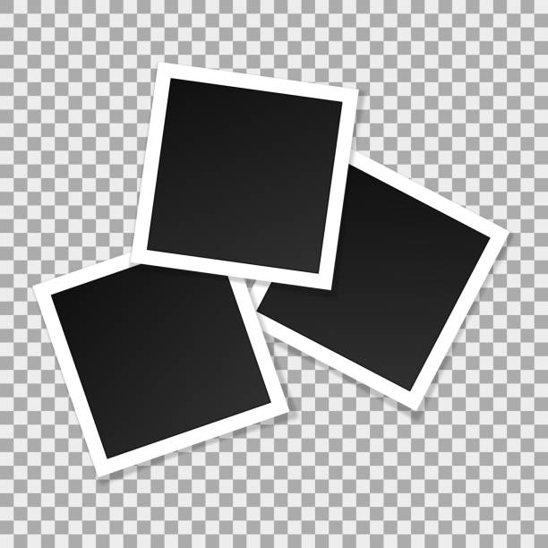 ilustrações de stock, clip art, desenhos animados e ícones de set of square vector photo frames. collage of realistic frames isolated on transparent background. template design. vector illustration - clip art