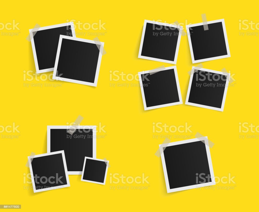 set of square vector photo frames on sticky tape on yellow