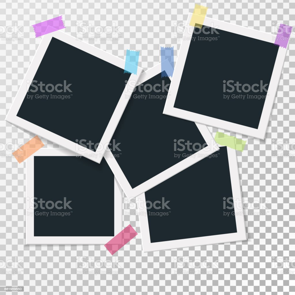 Set Of Square Vector Photo Frames On Sticky Tape Vertical And