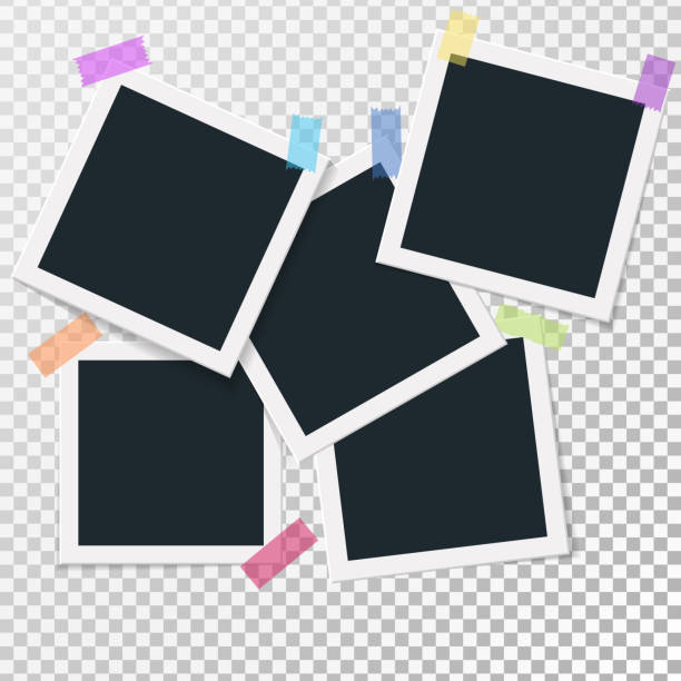 stockillustraties, clipart, cartoons en iconen met het aantal vierkante vector fotolijsten op plakband. verticale en horizontale foto sjabloonontwerp. vectorillustratie. geïsoleerd op transparante achtergrond - polaroid