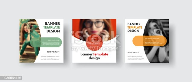 Set of square web banners with a semicircle for a photo and round elements for text. Template for social media in white. Vector illustration.
