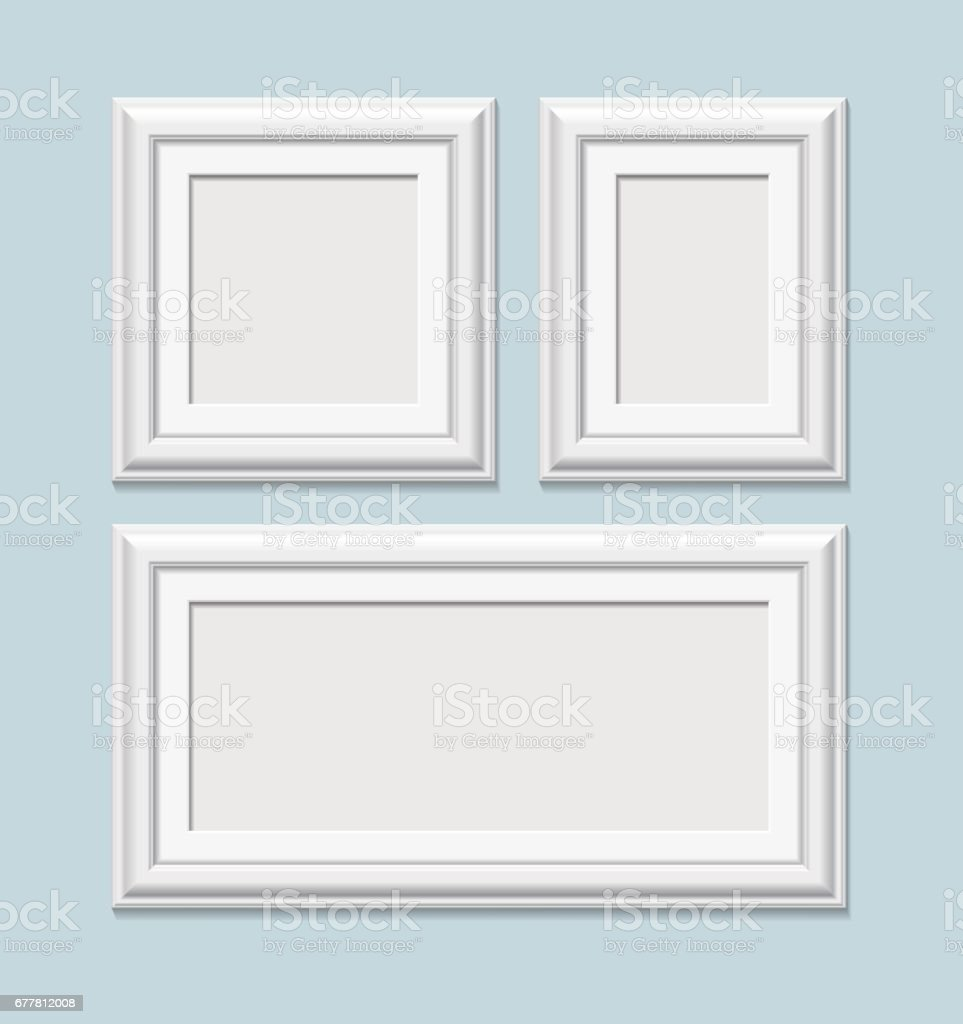 Set Of Square White Photo Frames Vector Stock Vector Art & More ...