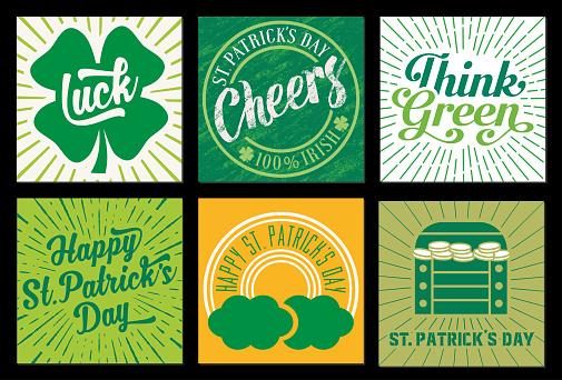 Set of St Patrick's Day designed cards - v2