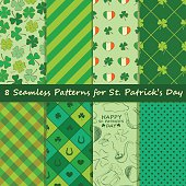 Set of St. Patrick's Day seamless pattern. Scrapbook elements. All patterns in swatch menu.