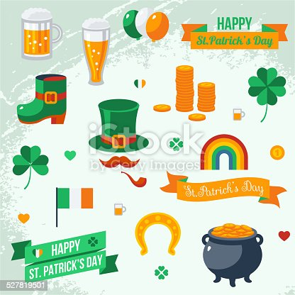 Set Of St Patricks Day Symbols Stock Vector Art More Images Of