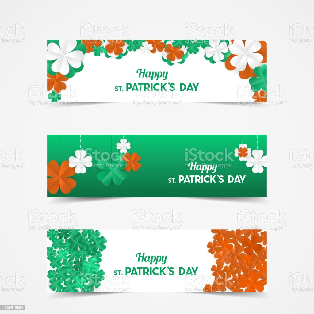 Set Of St Patricks Day Vector Banners With Shamrock Lucky Spring