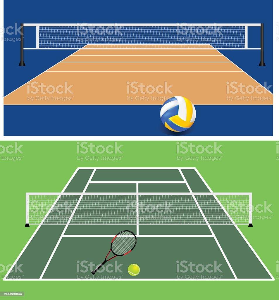 Set of Stadiums vector art illustration