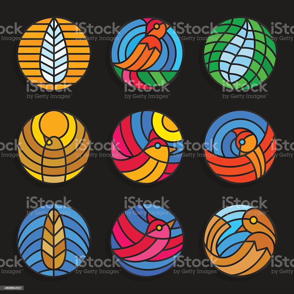 Set of stained glass birds and feathers icons. Vector illustration. vector art illustration